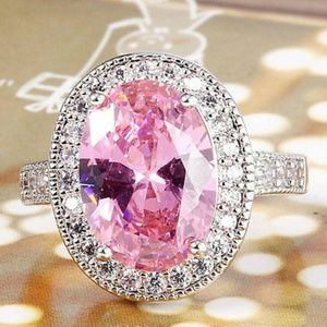 🆕️Sterling Silver - Pink & White Sapphire Ring